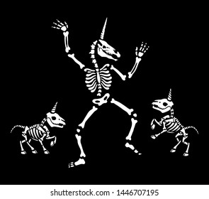 Unicorn Skeletons dancing at a party. Skeletons in various poses. Black background. For tattoo, print on t-shirt and more. Happy Halloween!