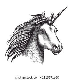 Unicorn sketch icon. Vector magic or mystic fairy horse horn and waving mane. Wild fantastic unicorn stallion symbol for equine sport or equestrian races contest exhibition