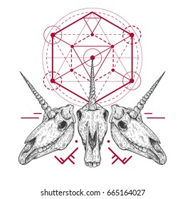 Unicorn skull with tribal geometric form in retro vintage style. Design template for tattoo, print, cover. Vector illustration.
