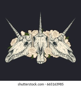 Unicorn skull with white roses in retro vintage style. Design template for tattoo, print, cover. Vector illustration.