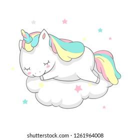 Unicorn Sleep Fairy Dream Poster Vector Template. Magic Card Watercolor Print Template with Little Horn Pony Sleeping on Cloud. Fairytale Printable Banner Flat Cartoon Design