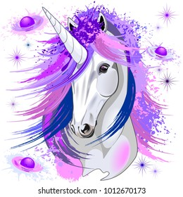 Unicorn Spirit Pink and Purple Ultraviolet Mythical Creature Vector illustration