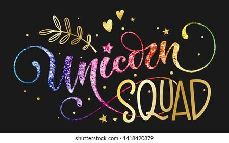 Unicorn Squad Rainbow Quote Print