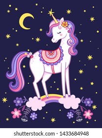 Unicorn is standing on a rainbow on the background of the night sky. Cute vector illustration with a fabulous animal.
