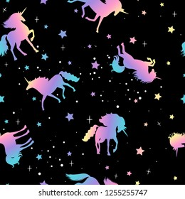 Unicorn and star silhouettes colorful pattern, vector illustration