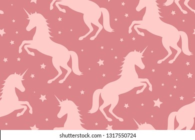 unicorn and stars on pink background, vector illustration.  mystical, magical creature. seamless pattern, background, texture.