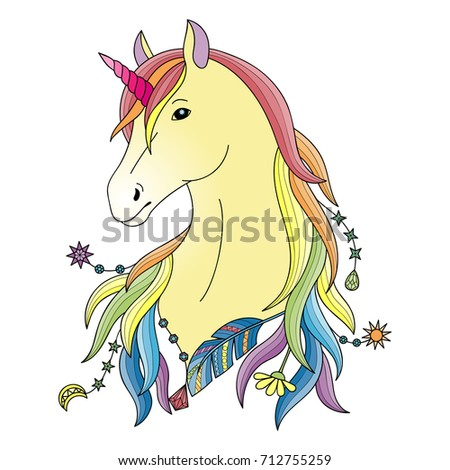 Unicorn Symbol Fairy Tale Outline Colorful Stock Vector Royalty
