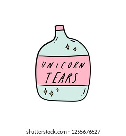 Unicorn tears bottle doodle art. Good for t-shirts. postcards and stickers. Vector illustration.