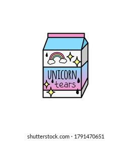 Unicorn tears drink vector illustration icon. Doodle hand drawn cartoon outlined milk carton in pink, yellow, violet and blue colors. Isolated.