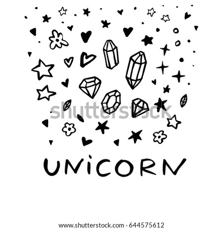 Unicorn Text Message Funny Doodle Poster Stock Vector Royalty Free