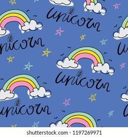 Unicorn text and rainbow cartoon drawing seamless repeating pattern texture / Vector illustration design background for textile graphics, fashion fabrics and other uses