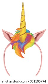 Unicorn tiara with golden horn and rainbow colored hair