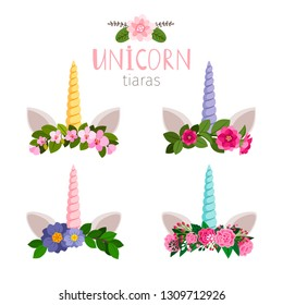 Unicorn tiaras with colored flowers of collection. Vector of tiara unicorn pony illustration