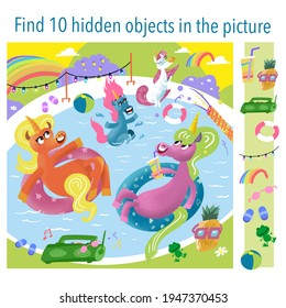 Unicorn vacation, relaxation in the pool, summer party. Find 10 objects in the picture. Vector illustrations, full color.