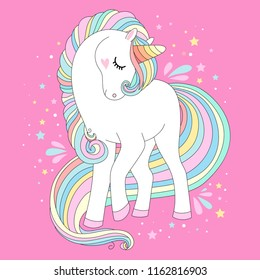 Unicorn vector cute character. White unicorn with rainbow hair vector illustration