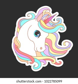 Unicorn vector illustration for children design. White unicorn rainbow hair. Cute fantasy animal.