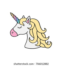Unicorn vector illustration drawing. Cute unicorn's head with rainbow horn and yellow mane. Unicorn cartoon graphic print isolated on white background. Colorful rainbow unicorn sticker icon.