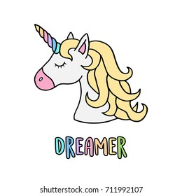 Unicorn vector illustration drawing with rainbow writing Dreamer. Unicorn's head cartoon, isolated on white background.