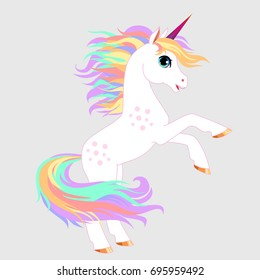 Unicorn vector  illustration. Magic fantasy horse design for children t-shirt and bags. Childish character White unicorn  with rainbow hair