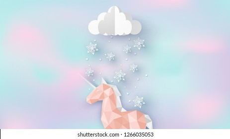 Unicorn in winter on lovely color. Cute unicorn with snowflakes for winter on pastel background. paper cut and craft style. vector, illustration.