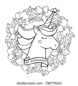 Unicorn And Wreath Of Apple Tree Branch Magical Animal Vector Artwork Black