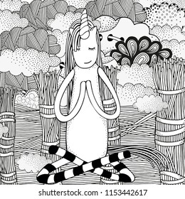Unicorn  in yoga easy pose. coloring book page. Old rustic fence. Wind, clouds, Black and white doodle coloring book page for adult and children. vector sketch