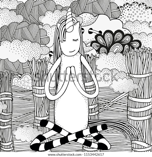 Unicorn Yoga Easy Pose Coloring Book Stock Vector (Royalty Free ...