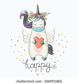 Unicorn.cartoon hand drawn vector illustration. Can be used for baby t-shirt print, fashion print design, kids wear, baby shower celebration greeting and invitation card.