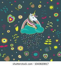 Unicorns with clouds and colored drops with cute colorful flowers and hearts around. Seamless pattern. Vector illustration on dark green background
