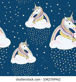 Unicorns with clouds and colored drops with stars around. Seamless pattern. Vector illustration on blue background
