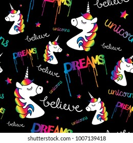 Unicorns dreams magical seamless repeat pattern texture / Textile graphic print design
