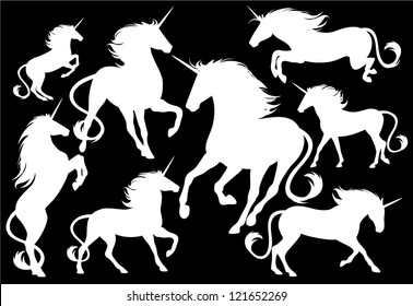unicorns fine vector silhouettes - white outlines over black