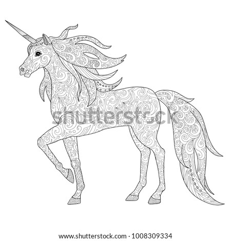 Unicorns Horse Page Adult Coloring Book Stock Vector Royalty Free