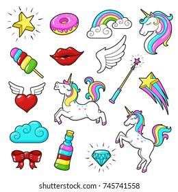 Unicorns icon set. Cute fantasy creature with magic abilities and amazing rainbow color. Unicorns cartoon vector illustration isolated on white background