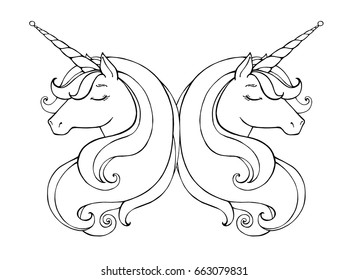 Unicorns Isolated Magical Animal Vector Artwork Black And White Coloring Book Pages