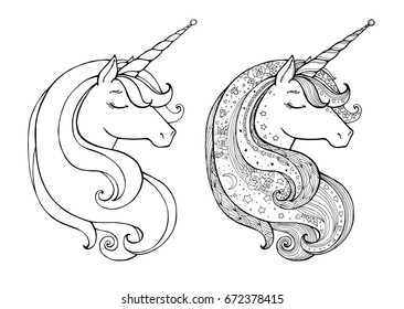 Unicorns Isolated Magical Animal Vector Artwork Black White Coloring Book Pages