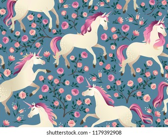 Unicorns on background with fairy forest. Seamless pattern.