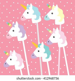 Unicorns on pink triangle pattern