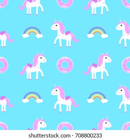 unicorns, rainbows and doughnut seamless vector pattern