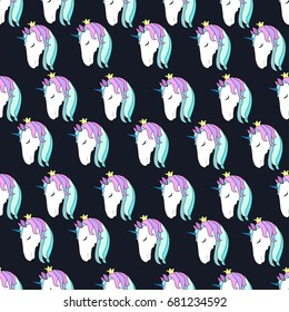Unicorns seamless pattern, vector, modern print for textile texture