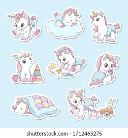Unicorns stickers set. Vector illustration.