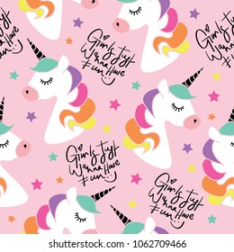 Unicorns and typography seamless endless repeating pattern / Vector illustration design for fashion fabrics, textile graphics, prints, wallpapers and other uses.
