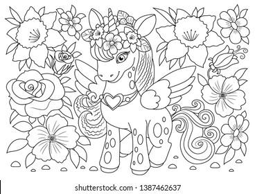 Unicorns vector. Coloring book page unicorn. Children background. Animals coloring page. Animals vector. Magic unicorn cartoon. Sketch animals