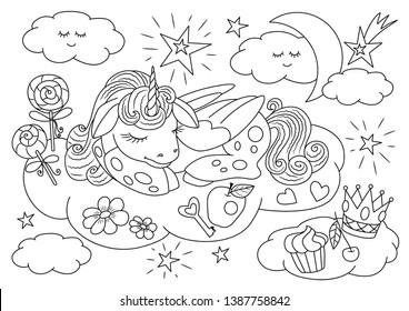 Unicorns vector. Coloring book page unicorn. Children background. Coloring page unicorn. Magic unicorn cartoon. Animals coloring page. Animals vector