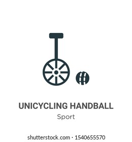 Unicycling handball vector icon on white background. Flat vector unicycling handball icon symbol sign from modern sport collection for mobile concept and web apps design.