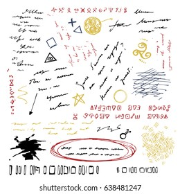 Unidentified abstract handwriting scribble, letter line or personal diary elements vector illustration
