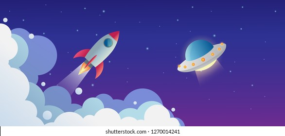 unidentified flying object ufo icon on the space background vector design illustration
