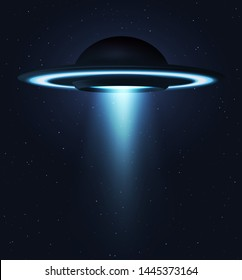 Unidentified flying object. UFO flying on the horizon night sky. Futuristic ufo on Space stars background.