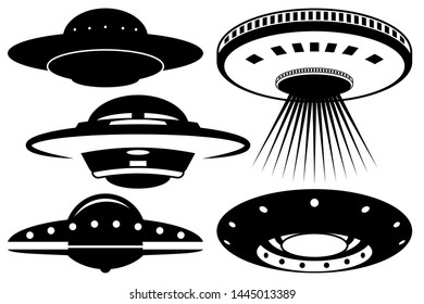Unidentified flying object / UFO Vector Illustration Silhouette