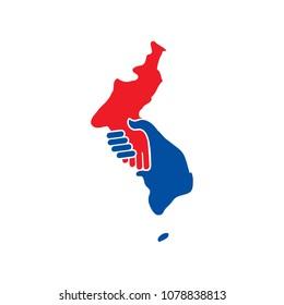 Unification Korea Map vector. handshake logo.